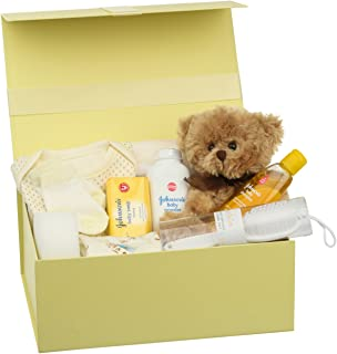 Baby Box Shop - Cesta regalo bebe - Regalos originales para baby shower con esenciales para bebes recien nacidos que incluye oso de peluche y caja recuerdos color limón