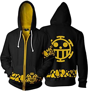 3D Printing Trafalgar Law Zip up Hoodie Sweatshirt Long Sleeve Jacket Anime Cosplay Costume