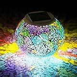SUAVER Lámpara Solar Mosaico RGB impermeable Decorativo Lámpara De Mesita De Noche Lamparas De Sobremesa Para Salón, Jardín, Habitación, Terraza, Comedor, Etc (Red & Blue)