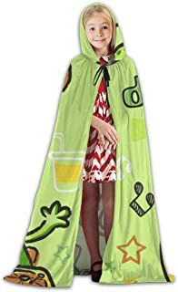 Kids Hooded Cape Cloak Robe Dino Cartoon Disk Jockey Cosplay Costume Halloween Children's