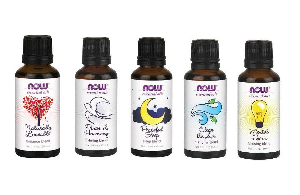 Now Essential Oils Blend Pack - Purifying, Sleep, Calming, Focusing and Romance