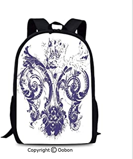 Travel Waterproof Backpack, Digital Grunge Lily Old Emperor Flag Victorian Style The, School Bag :Suitable for Men and Women, School, Travel, Daily use, etc.Purple White