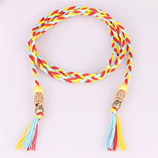 WMWLUO Joker Dress Sub-Knot Decorative Belt Ladies Woven Belt Women Tassel Thin (Color : Orange)