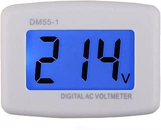GEREE Flat Plug AC 80-300V Voltage Panel Power Line Volt Test Monitor Gauge Meter AC 110V 220V Digital LCD Voltmeter for RV Boat Camper Household Factory Plug into Outlet Directly to Measure Voltage