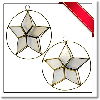Innovatronix 2 Pieces Handmade Capiz Shell Star Ornament - Diameter 3.75 to 4 Inches - Christmas Tree Decoration | White (Clear)