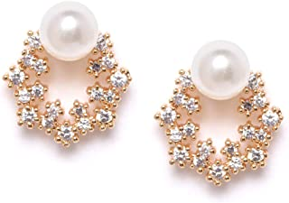ZAVERI PEARLS Enchanting Gold Tone Floral Cubic Zirconia and Pearl Brass Base Metal Stud Earring For Women-ZPFK9456