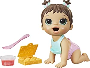 Baby Alive Lil Snacks Doll, Eats and Poops, Snack-Themed 8-Inch Baby Doll, Snack Box Mold, Toy for Kids Ages 3 and Up, Brown Hair