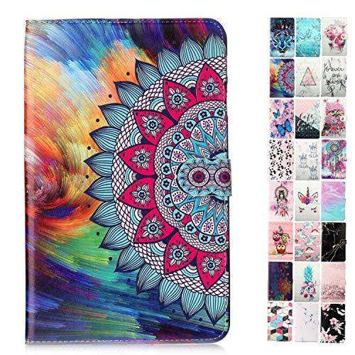 Coeyes tablet-PC hoes compatibel met de Samsung Galaxy Tab A 10.1 (2016) T580 T585 T587 patroon design tas leer flip case etui beschermhoes cover met kaartenvak - mandala-bloem