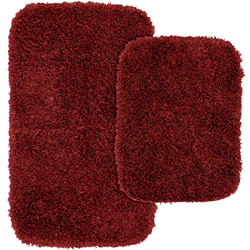 Garland Rug 2-Piece Jazz Shaggy Washable Nylon Bathroom Rug Set, Chili Pepper Red
