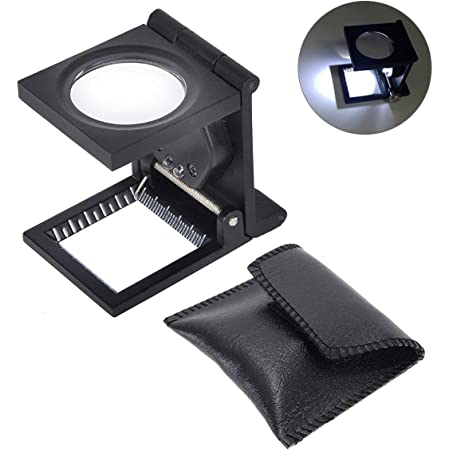 Amazon Com Yosoo 10 X 28mm Linen Test Three Folding Magnifying Glass Portable Zinc Alloy Magnifier 10x Lens With Led Lamp For Textile Jewelry Collection Repair Black Furniture Decor