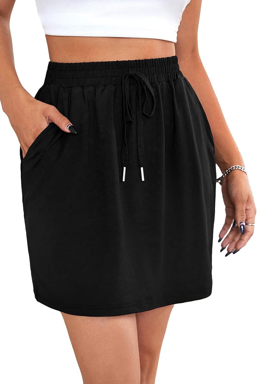 Milumia Women's Elastic High Waist Tie Front Straight Short Skirt with Pockets