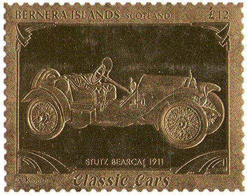 Isole Bernera Scotland : Veicoli d'epoca - STUTZ BEARCAT 1911 / foglia oro bollo/perforato Valore nominale £ 12/1987 / Bernera/MNH
