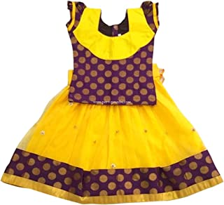 Pattu Pavadai Netted Yellow and Purple Fancy Langa for Indian Baby Girls and Kids