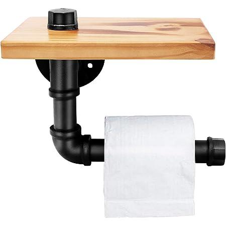 Étagères en bois industrielles de supports de tuyau de fer - support fixé au mur fer forgé pour la salle de bains