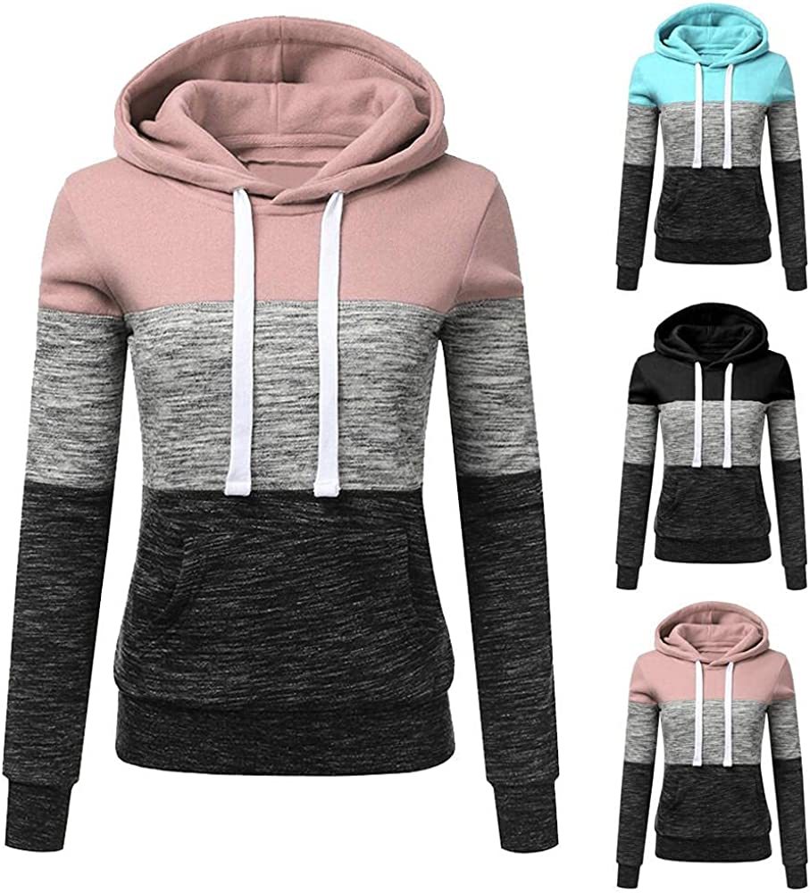 Fudule Long Sleeve Hoodies for Women Casual Lightweight Sweatshirts Teen Girls Slim Fit Hooded Pullover Patchwork Fall Shirts