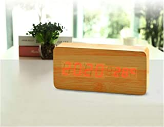 LED Wooden Alarm Clo Watch Table Voice Control Digital Wood Electronic Desktop USB/AAA Powered Clos Table,White3