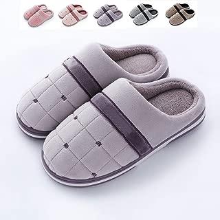 Men's Cotton Slippers, Women's Winter Indoor Home Couple Non-Slip Plus Velvet Thick Bottom Warm Postpartum Month Shoes,Purple,40/41