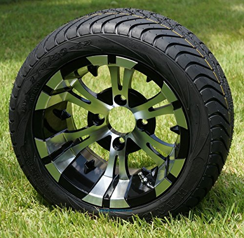 """12"""" Machined & Black Vampire Golf Cart Wheel and Low Profile Tire Combo-Set of 4"""