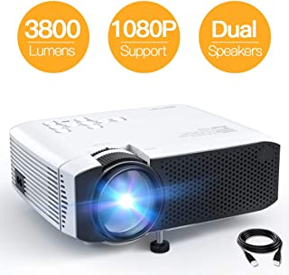 "Mini Projector, APEMAN 3800L Brightness Projector, Support 1080P 180"" Display, Portable Movie Projector, 45,000Hrs LED Life and Compatible with TV Stick, PS4, HDMI, TF, AV, USB for Home Entertainment"
