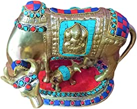 RATNA Multicolor Beautiful Brass Kamadhenu Cow with Calf Idol   Kamadhenu, The Sacred Cow Grants All Wishes and Desires