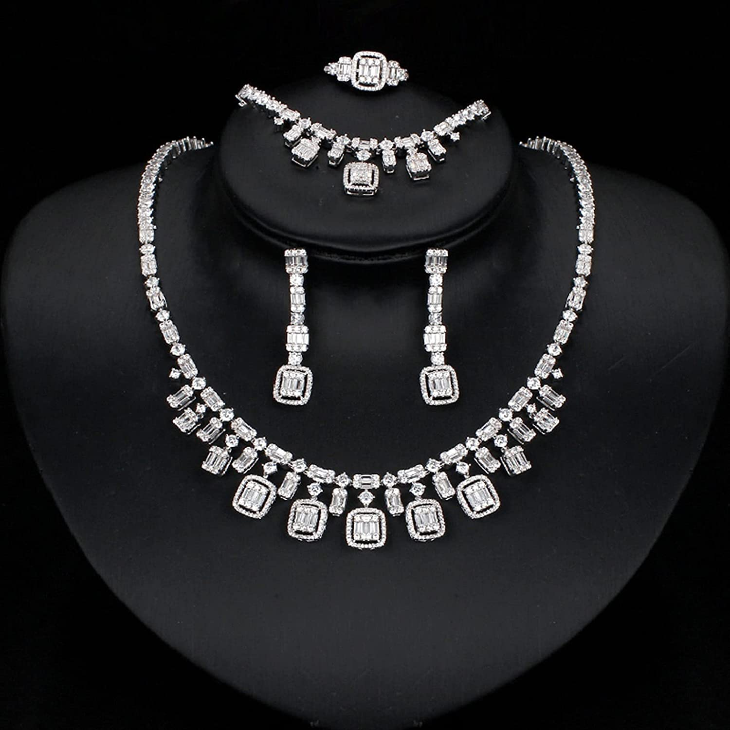 SYXMSM Al sold out. Jewellery Set 4PCS BridalZirconia Japan's largest assortment Necklaces Ring Earrings