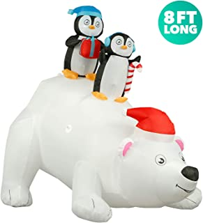 Holidayana 8 ft Inflatable Christmas Penguins on Polar Bear Outdoor Decoration, Christmas Inflatables Decorations with LED Lights, Fan, and Stakes