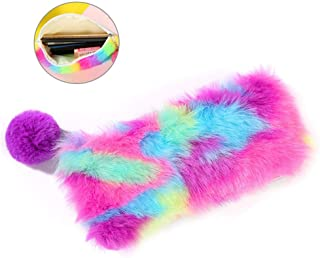 Volwco Rainbow Fluffy Pencil Case Pouch, Cute Multi-Color Zipper Pencil Bag Colorful Stationery Storage Pouch Makeup Cosmetic Bag for School, Kids, Girls, Women