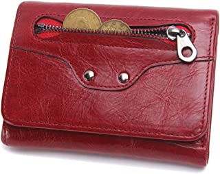 Leather Men's Wallet Leather Short Paragraph Multi-Function Fashion Clutch Wallet Smiley Purse Waterproof (Color : Red, Size : S)