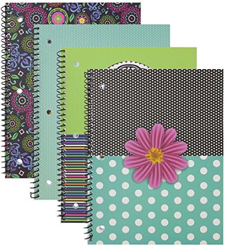emraw Saas & Class Notebook Spirale mit 60Blatt breit liniertes, weißes Papier–Set enthält: Polka Dot Blume, Funky Blumen, Streifen & Kronleuchter Bezügen (4Pack)