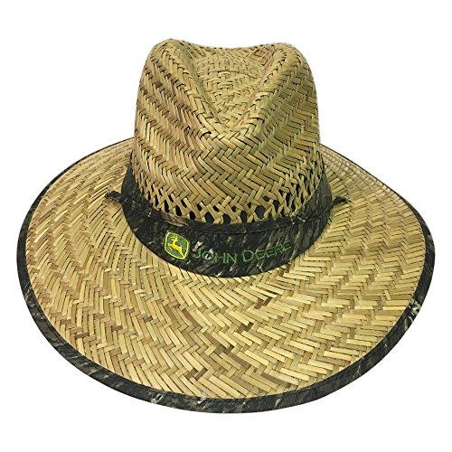 John Deere Brand Camo Straw Hat With Neck Strap