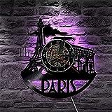 XYVXJ Reloj de Pared Hecho a Mano con Horizonte de París, R