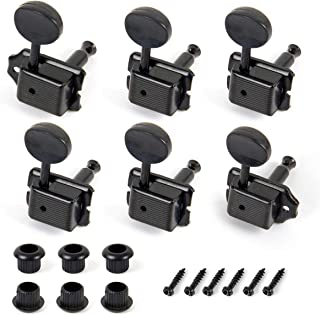 Kmise 6R Vintage Guitar Tuning Pegs Black Tuners Keys Machine Heads for Fender Strat Replacement