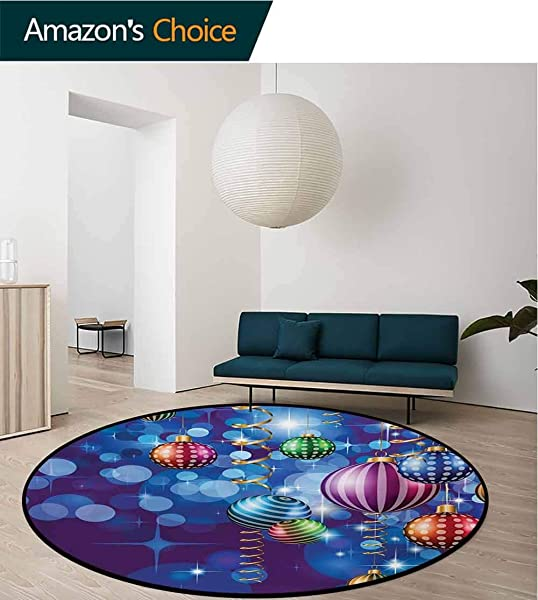 RUGSMAT Christmas Small Round Rug Carpet Happy New Year Party Celebrations With Swirling Ornaments And Balls Festive Print Door Mat Indoors Bathroom Mats Non Slip Diameter 35 Inch