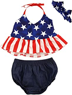 GRNSHTS Baby Girl My First 4th of July Outfits Short Sleeve Romper+Tutu Skirt+Headbands 4PCS Clothes Set