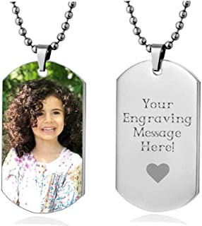 Personalized Custom Photo High Polished Color Engraved Dog Tag Necklace Pendant and 24 inch Stainless Steel Chain, Velvet Giftpouch and Keyring
