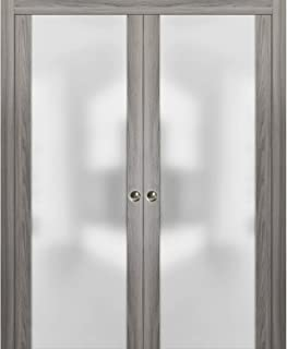 Sliding Double Pocket Door 72 x 84 inches Frosted Tempered Glass | Planum 4114 Ginger Ash | Kit Trims Rail Hardware | Solid Wood Interior Bedroom Bathroom Closet Sturdy Doors