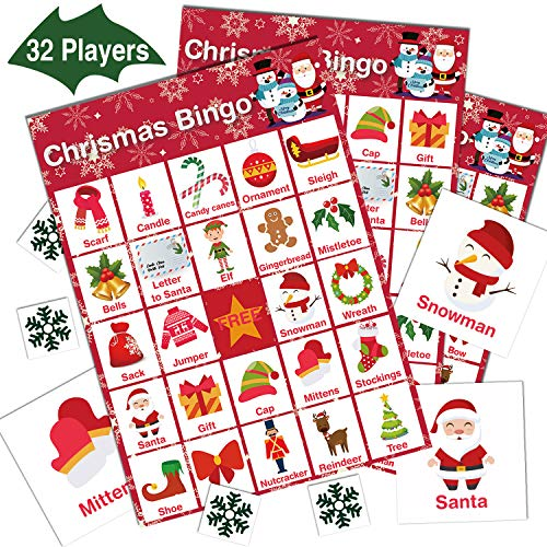 V-Opitos Christmas Bingo Game, 32 Players - Christmas Party Games for Kids and Adults, Xmas Bingo Card for Family/Class/Group Activities