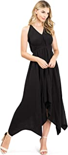 LOVE STITCH Women's Chambray V Neck Halter Maxi Dress