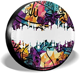 ENEVOTX Islamic Art Colorful Abstract Truck Tire Covers Rear Tire Cover Tire Cover Waterproof Uv Sun 14 - 17 Fit for Jeep Trailer Rv SUV and Many Vehicle