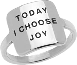 Geometric Square Stainless Steel Women's Inspirational Ring - Today I Choose Joy Inspirational Jewelry & Gifts, Size 6 to 9
