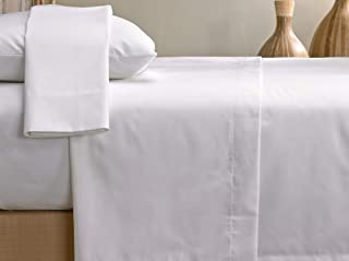 Marriott Signature Sheet Set - Soft, Breathable 300 Thread Count Cotton Blend Linens Set - White - Includes Flat Sheet, Fitted Sheet, and 2 Pillowcases - Queen