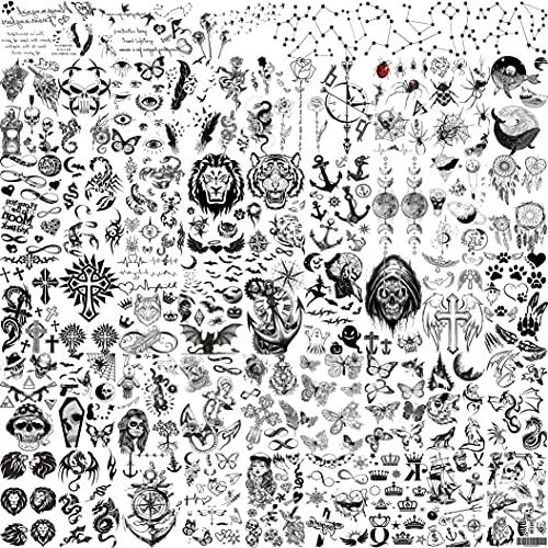 Shegazzi 52 Blatt 3D Klein Temporäre Tattoos Frauen Männer Kinder Jungen Mädchen, Schädel Löwe Tiger Fake Tatoos Erwachsene, Anker Kreuz Kompass Tattoo Zum Aufkleben Auf Die Haut...