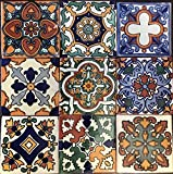 Talavera 9 Mixed Designs (NO Stickers) Real Ceramic A1 Quality Mexican Tile 4x4 Sampler