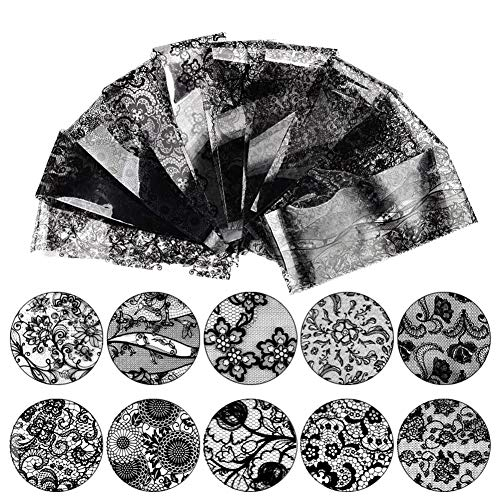 JUNGEN 10 Hojas Pegatina Decoracion para Las Uñas Encaje Negro DIY Etiqueta Decoración para Las Uñas Decal para Mujer