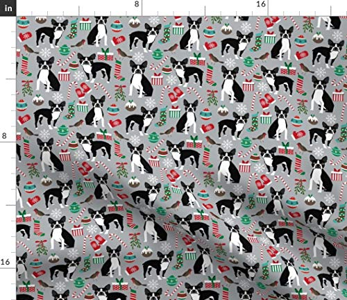 Spoonflower Fabric - Terrier Christmas Cute Xmas Holiday Dogs Dog Terriers Breeds Frenchie Printed on Petal Signature Cotton Fabric by The Yard - Sewing Quilting Apparel Crafts Decor