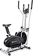 Nightcore 2 in 1 Elliptical Fan Bike Dual Cross Trainer Machine, Workout Exercise Bike with Electronic Display Screen Adjustable Seat & Two Pairs of Armrests for Indoor Home Office Gym Use, Black