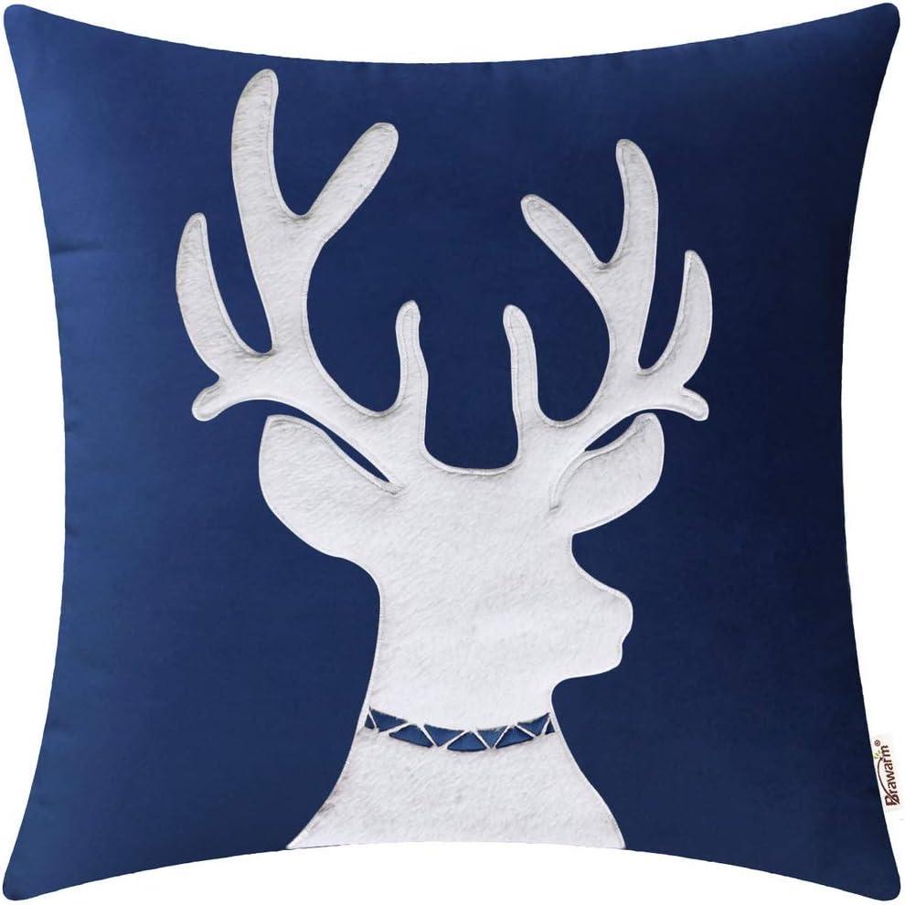 Brawarm Christmas Reindeer Throw Pillow Velvet Cover Appl Cases Same day Selling rankings shipping