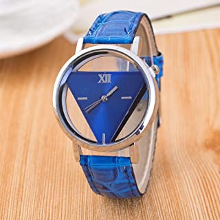 Hexiaoyi Fashion Simulation Leather Hollow Watch (Color : Blue)