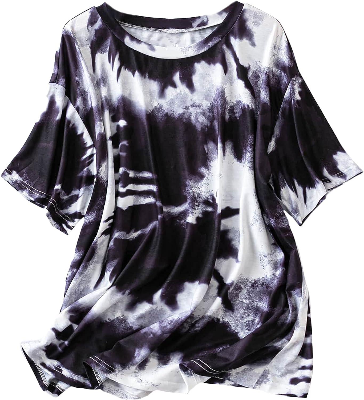 MakeMeChic Women's Plus Size Tie Dye Round Neck Short Sleeve Tee Shirt
