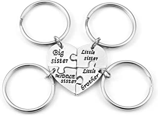 4pcs Split Sister Brother Matching Heart Puzzle Keychain Key Chain Ring